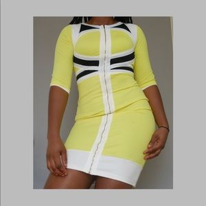 Retro Commander Fitted Dress - Yellow